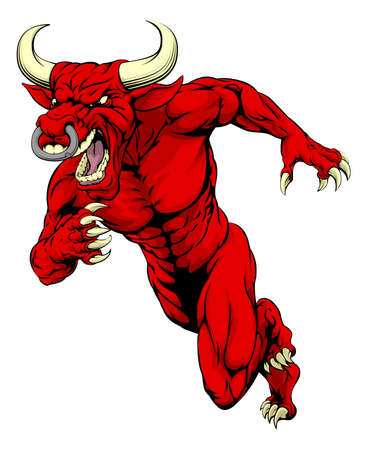 black white red: An illustration of a mean tough looking red bull sports mascot sprinting