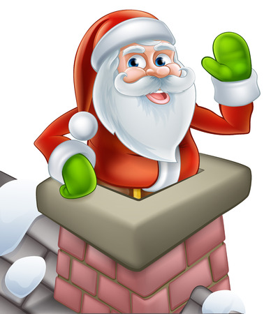 Santa on a snowy rooftop coming out of a chimney stack and waving at Christmas. Vector