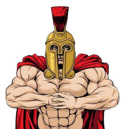 cartoon soldat: Meine Suche Spartan Mann bereit für den Kampf Stanzen Faust in Palm