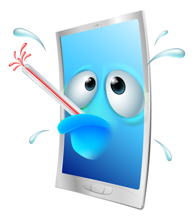 poorly: Broken cartoon mobile phone, cartoon of a poorly phone with a bursting thermometer in its mouth. Could be a broken phone or one that has a virus or other malware Illustration