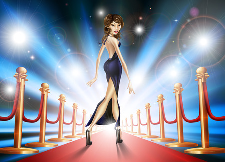 girl in red dress: Illustration of an elegant beautiful celebrity woman on a red carpet with paparazzi lights flashing Illustration