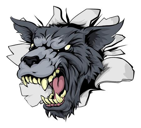 breaking out: Una mascota de los deportes de lobo o car�cter romper el fondo o en la pared