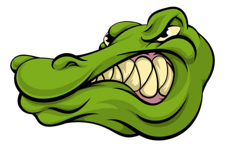 A crocodile or alligator cartoon character sports mascot head Illustration