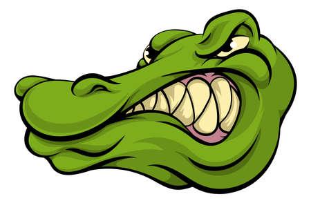 cocodrilo: Una cabeza de la mascota deportiva de carácter cocodrilo o caimán de dibujos animados