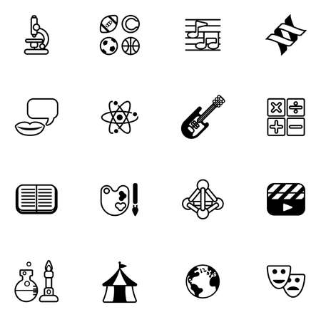 Education or quiz subject icons covering math, sports, music, science, history and lots more Vector
