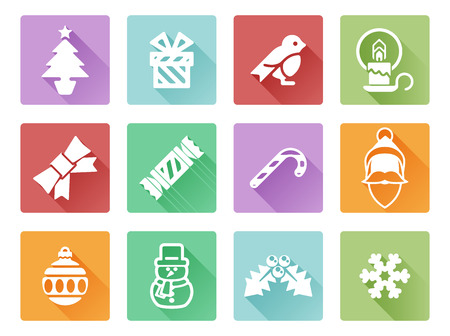 advent candles: Christmas icon set including Santa, snow flake, cracker, holly, ribbon and lots more