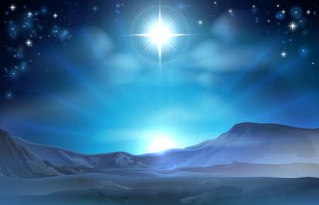 nascita di gesu: Natale natività Stella di Betlemme illustrazione della stella sopra il deserto indica la strada verso il luogo di nascita di Gesù Vettoriali