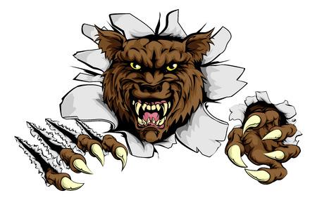 wilkołak: Wilk atakuje pazurami przełom rysunek wilka rozdzieranie przez tle