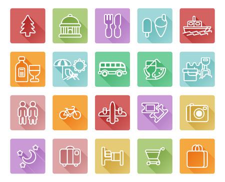transat: ic�nes de voyage et du tourisme, y compris chaise de plage pont, magasins, restaurants, mus�es et beaucoup plus