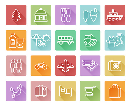 Travel and tourism icons including beach deck chair, shopping, dinning, museum and many more Vector