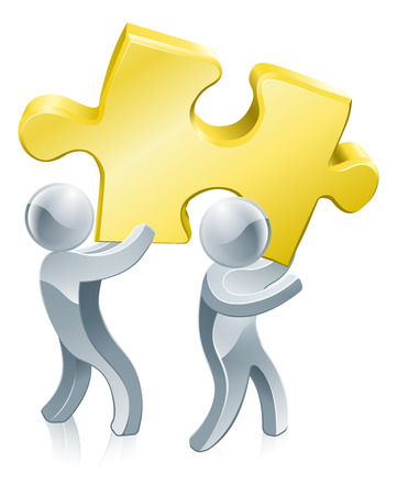 cartoon mascot: Completing jigsaw teamwork concept of two people completing a jigsaw puzzle using teamwork Illustration