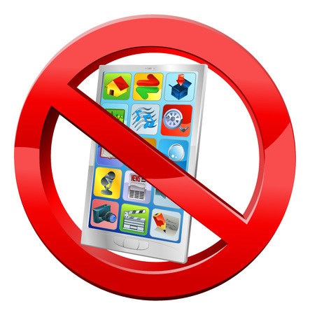 cell phones not allowed: No mobiles sign with a cell phone in crossed red circle Illustration