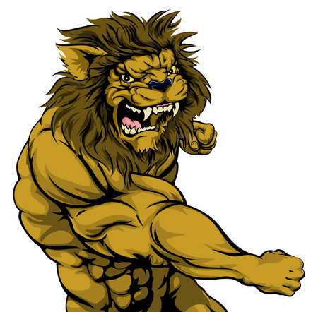 ferocious: A tough muscular lion character sports mascot attacking with a punch