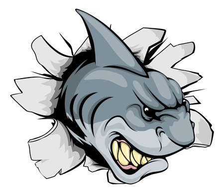 A shark sports mascot or character breaking out of the background or wall