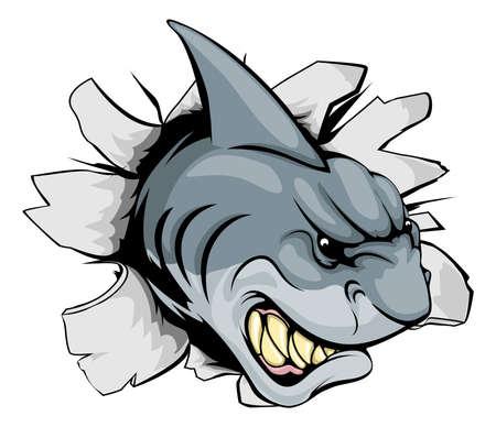breaking out: Una mascota de los deportes de tibur�n o el car�cter romper el fondo o en la pared Vectores