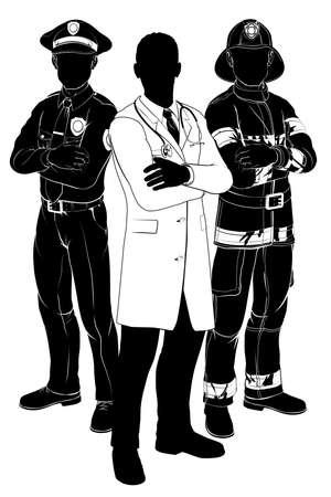 policier: Silhouettes d'urgence de l'équipe des services de secours d'un policier ou un agent de police, un pompier ou sapeur-pompier et un médecin