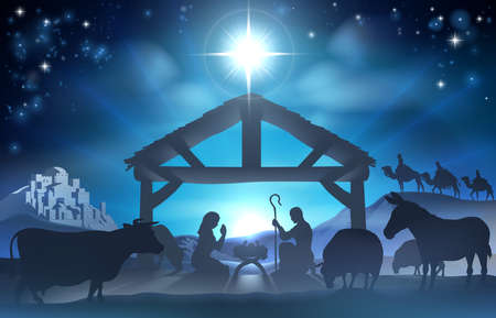 mary and jesus: Traditional Christian Christmas Nativity Scene of baby Jesus in the manger with Mary and Joseph in silhouette surrounded by the animals and wise men in the distance with the city of Bethlehem