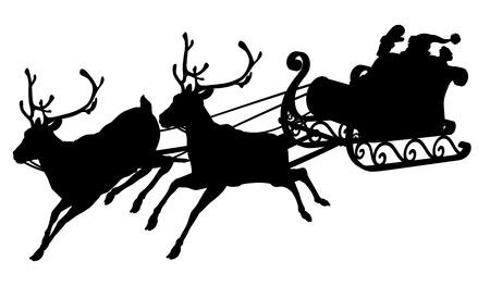Santa silueta trineo de Papá Noel que agita en su trineo y renos