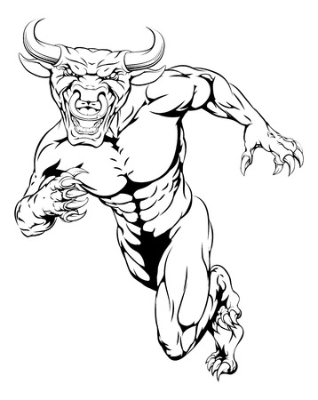 Charging Bull mascot illustration of a bull animal sports mascot or character sprinting Vector