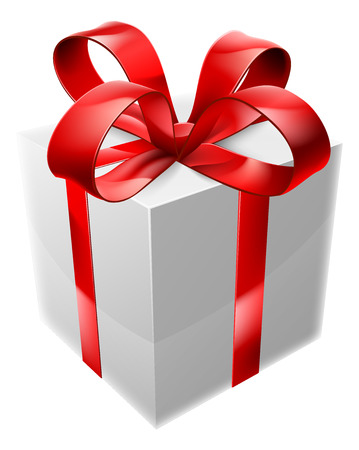 An illustration of a red and white present with a ribbon and large bow Vector