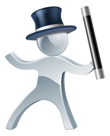 Magician mascot man illustration with wand and top hat Vector