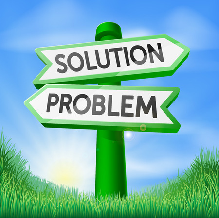 one way sign: Solution problem concept sign of a direction sign in a field pointing one way to problem and one to solution