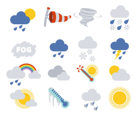weather report: Weather icon set for weather forecasting apps or similar in modern flat colour style