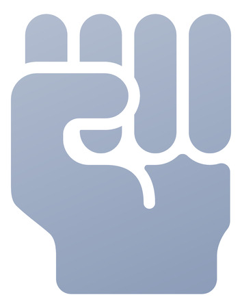 raised hand: Fist icon illustration of a hand in in clench fist gesture