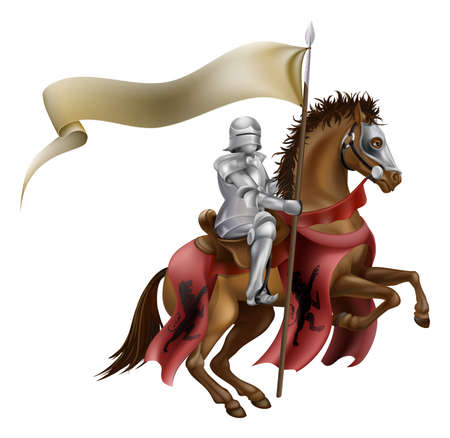 cartoon knight: A medieval knight in armor riding on horseback on a brown horse holding a flag or banner