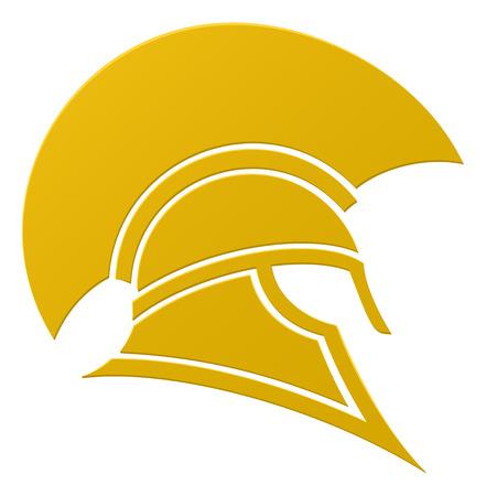 imposing: Un imponente casco Spartan o Trojan in icona del profilo Vettoriali