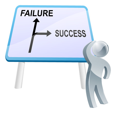 failure sign: A man looking up at a direction road sign with the words success and failure on it Illustration