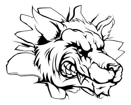 Cartoon fierce wolf mascot animal character breaking through a wall Vector