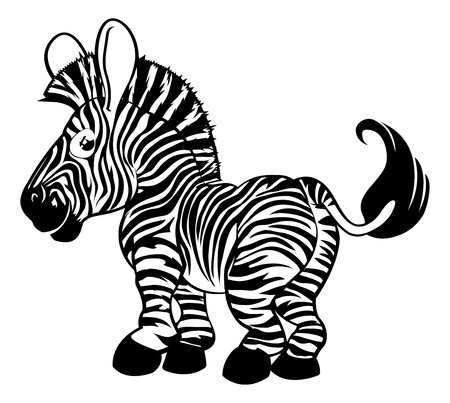 An illustration of a black and white zebra cartoon charcter Vector