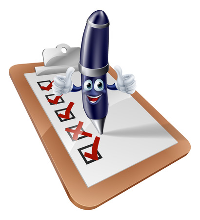 An illustration of a happy pen person completing a survey Vector