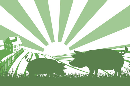 rolling landscape: An illustration of a silhouette pigs in a field