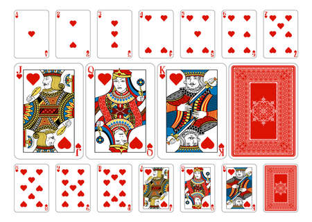 king and queen of hearts: Cards from the Georghiou 14 deck, a beautifully crafted new original playing card deck design. Illustration