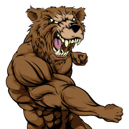 A mean looking bear sports mascot fighting and punching with fist