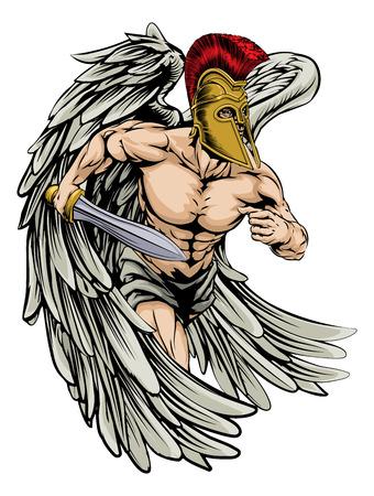 cascos romanos: Una ilustraci�n de un guerrero car�cter �ngel o deportes mascota con grandes alas en un casco de estilo troyano o espartano que sostiene una espada