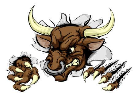 tare: A Bull animal sports mascot breaking through a wall