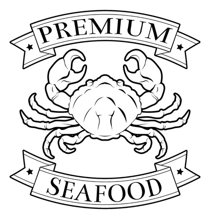 Premium seafood food label featuring an illustration of a crab Vector
