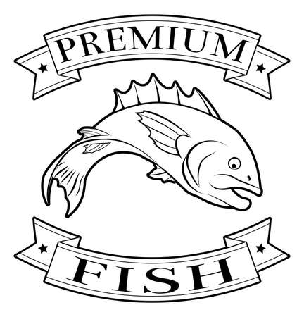 fish shop: Premium fish menu icon of a fish and banners in a stamp style
