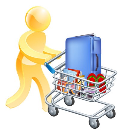 holiday shopping: Vacation holiday man trolley. A man pushing a trolley with holiday essentials in it. Shopping for a holiday or vacation trip. Illustration