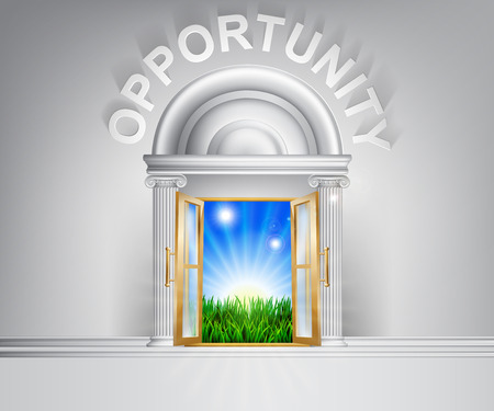opportunity concept: Opportunity door concept. A conceptual illustration for a happy verdant future of a door opening onto a field of lush green grass