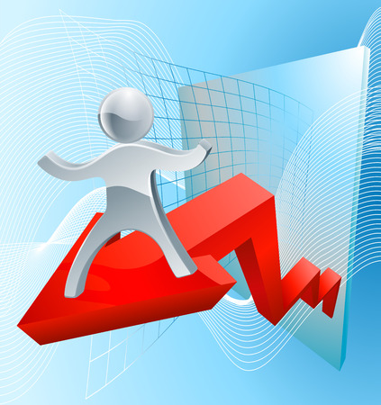 forefront: Great business results concept with a silver person mascot on a red profit arrow Illustration