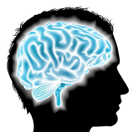 A mans head in silhouette with a glowing brain. Concept for mental, psychological development, brain development, learning and education, mental stimulation or other medical theme