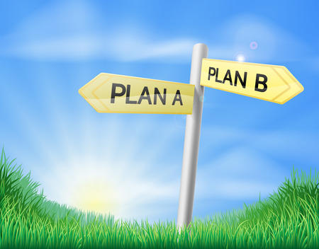 rolling landscape: Plan A plan B sign in a sunny green field of lush grass Illustration