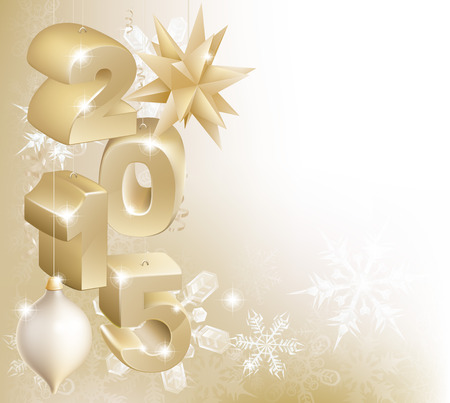 Gold 2015 Christmas or New Year decorations background with snowflakes and baubles reading 2015