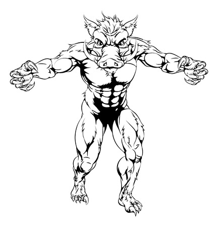 A drawing of a mean looking boar sports character mascot with claws out