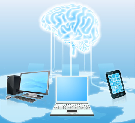 A conceptual illustration of media devices like mobile phones and laptop computers connected to a  central brain. Could be a concept for the cloud, crowd computing, botnets or snooping to gain information