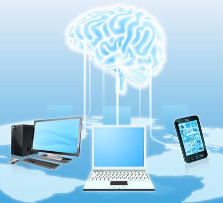 uploading: Una illustrazione concettuale di dispositivi multimediali come telefoni cellulari e computer portatili collegati a un cervello centrale. Potrebbe essere un concetto per il cloud, folla di calcolo, botnet o snooping per ottenere informazioni